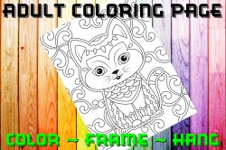 Cat Adult Coloring Page Sheet #12 (digital or shipped)