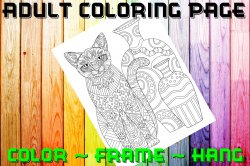 Cat Adult Coloring Page Sheet #14 (digital or shipped)