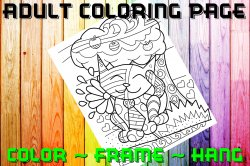 Cat Adult Coloring Page Sheet #16 (digital or shipped)