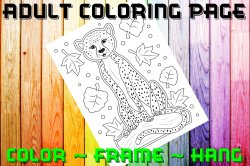 Cheetah Adult Coloring Page Sheet #1 (digital or shipped)