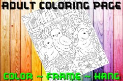 Chick Adult Coloring Page Sheet #1 (digital or shipped)