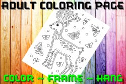 Deer Adult Coloring Page Sheet #7 (digital or shipped)