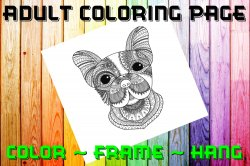 Dog Adult Coloring Page Sheet #6 (digital or shipped)