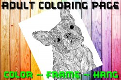 Dog Adult Coloring Page Sheet #9 (digital or shipped)