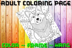 Dog Adult Coloring Page Sheet #10 (digital or shipped)