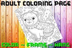 Dog Adult Coloring Page Sheet #11 (digital or shipped)