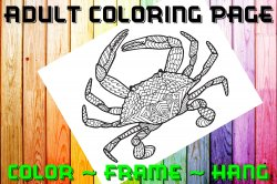 Crab Adult Coloring Page Sheet #1 (digital or shipped)