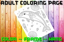 Dolphin Adult Coloring Page Sheet #6 (digital or shipped)