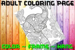 Elephant Adult Coloring Page Sheet #10 (digital or shipped)