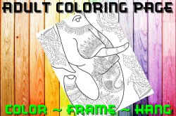 Elephant Adult Coloring Page Sheet #14 (digital or shipped)