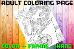 Elephant Adult Coloring Page Sheet #15 (digital or shipped)