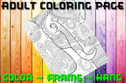 Elephant Adult Coloring Page Sheet #17 (digital or shipped)