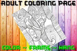 Elephant Adult Coloring Page Sheet #18 (digital or shipped)
