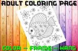 Fish Adult Coloring Page Sheet #15 (digital or shipped)