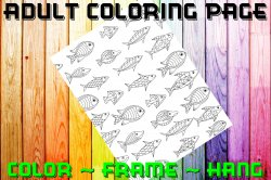 Fish Adult Coloring Page Sheet #17 (digital or shipped)