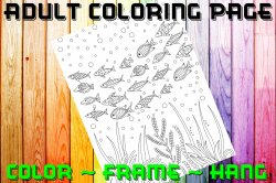 Fish Adult Coloring Page Sheet #18 (digital or shipped)