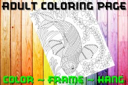 Fish Adult Coloring Page Sheet #20 (digital or shipped)