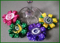 Set of 4 Green Bay Packers Ribbon Wine Glass Charms #B5E5E10E11 (choose images)