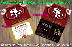 San Francisco 49ers Digital Party Invitation #1 (Regular or Chalkboard)