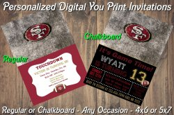 San Francisco 49ers Digital Party Invitation #3 (Regular or Chalkboard)