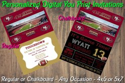 San Francisco 49ers Digital Party Invitation #5 (Regular or Chalkboard)
