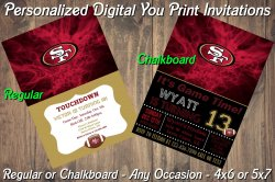San Francisco 49ers Digital Party Invitation #6 (Regular or Chalkboard)