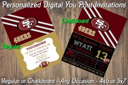 San Francisco 49ers Digital Party Invitation #9 (Regular or Chalkboard)