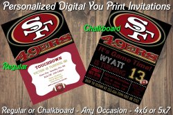 San Francisco 49ers Digital Party Invitation #10 (Regular or Chalkboard)