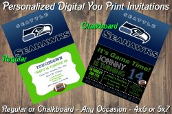 Seattle Seahawks Personalized Digital Party Invitation #1 Regular or Chalkboard