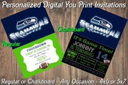 Seattle Seahawks Personalized Digital Party Invitation #3 Regular or Chalkboard