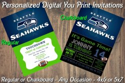 Seattle Seahawks Personalized Digital Party Invitation #4 Regular or Chalkboard