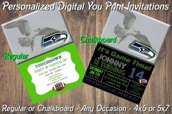 Seattle Seahawks Personalized Digital Party Invitation #5 Regular or Chalkboard