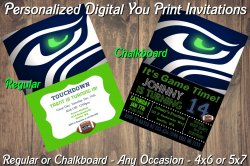 Seattle Seahawks Personalized Digital Party Invitation #6 Regular or Chalkboard