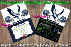 Seattle Seahawks Personalized Digital Party Invitation #7 Regular or Chalkboard