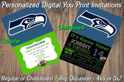 Seattle Seahawks Personalized Digital Party Invitation #9 Regular or Chalkboard