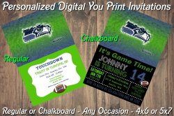 Seattle Seahawks Personalized Digital Party Invitation #10 Regular or Chalkboard