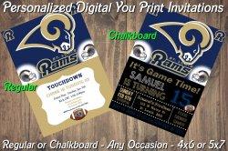 St Louis Rams Personalized Digital Party Invitation #1 (Regular or Chalkboard)