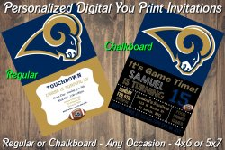 St Louis Rams Personalized Digital Party Invitation #2 (Regular or Chalkboard)
