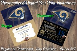 St Louis Rams Personalized Digital Party Invitation #3 (Regular or Chalkboard)