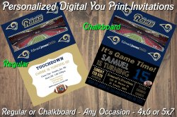 St Louis Rams Personalized Digital Party Invitation #5 (Regular or Chalkboard)