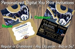 St Louis Rams Personalized Digital Party Invitation #6 (Regular or Chalkboard)