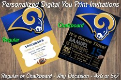 St Louis Rams Personalized Digital Party Invitation #7 (Regular or Chalkboard)