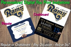 St Louis Rams Personalized Digital Party Invitation #10 (Regular or Chalkboard)