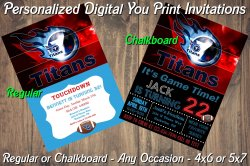 Tennessee Titans Personalized Digital Party Invitation #1 Regular or Chalkboard