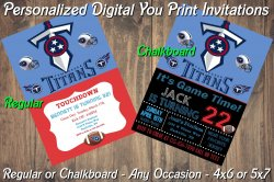 Tennessee Titans Personalized Digital Party Invitation #2 Regular or Chalkboard