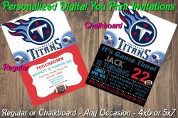Tennessee Titans Personalized Digital Party Invitation #3 Regular or Chalkboard