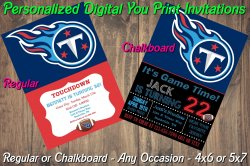 Tennessee Titans Personalized Digital Party Invitation #4 Regular or Chalkboard
