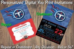 Tennessee Titans Personalized Digital Party Invitation #5 Regular or Chalkboard