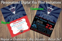 Tennessee Titans Personalized Digital Party Invitation #9 Regular or Chalkboard
