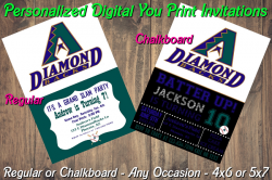 Arizona Diamondbacks Digital Party Invitation #01A (Regular or Chalkboard)